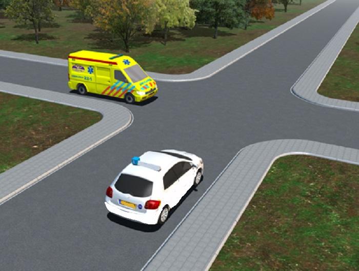 ambulance-1 Categorie P Voor laten gaan van voorrangsvoertuigen, militaire colonnes en trams