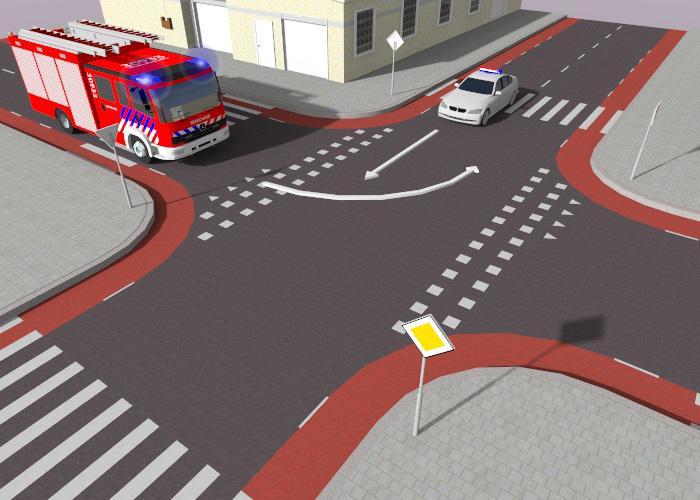 brandweer-2 Categorie P Voor laten gaan van voorrangsvoertuigen, militaire colonnes en trams