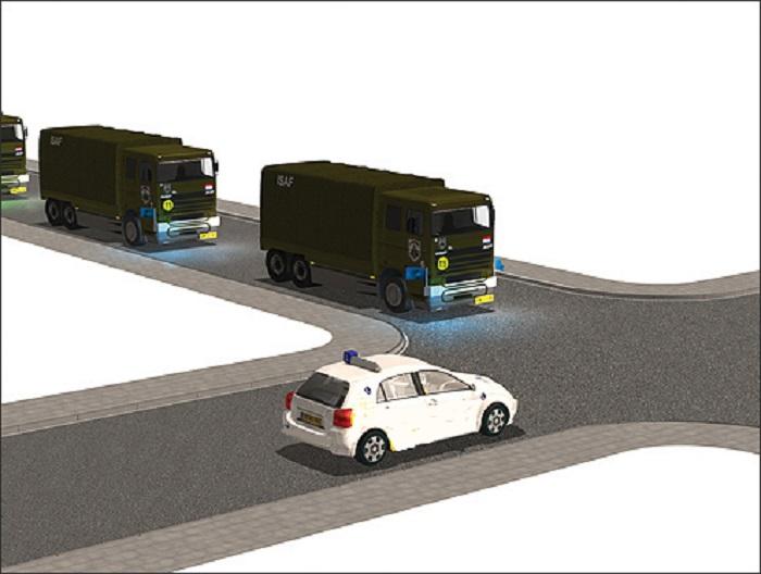 militaire-3 Categorie P Voor laten gaan van voorrangsvoertuigen, militaire colonnes en trams